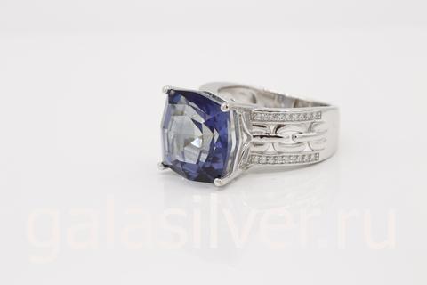 Кольцо с мистическим кварцем и цирконами из серебра 925