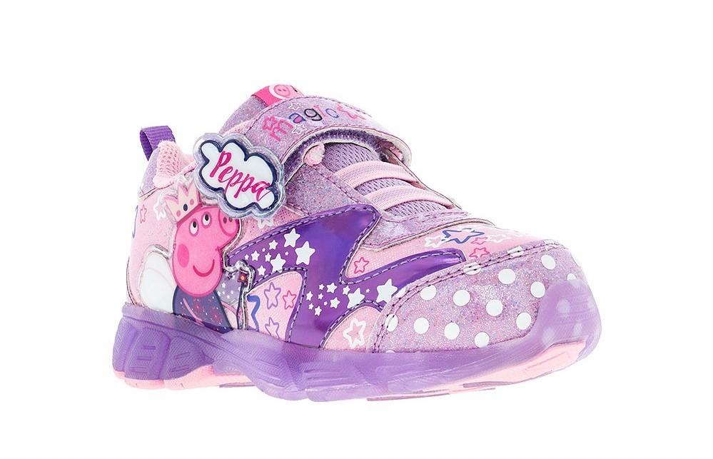 Светящиеся кроссовки Свинка Пеппа (Peppa Pig) на липучках для девочек, цвет сиреневый