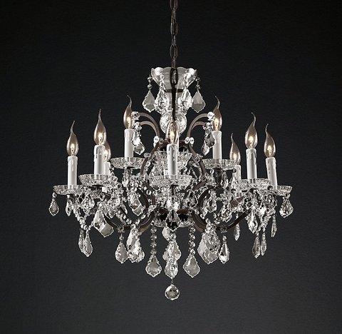 Подвесной светильник копия 19th C. Rococo Iron & Clear Crystal Round Chandelier 28
