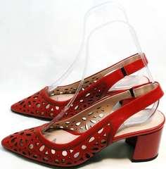 Женские кожаные босоножки туфли открытые на каблуке G.U.E.R.O G067-TN Red