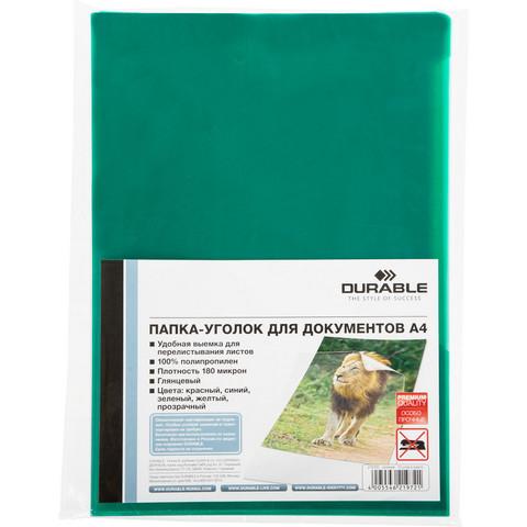 Папка-уголок Durable A4 зеленая 180 мкм (10 штук в упаковке)
