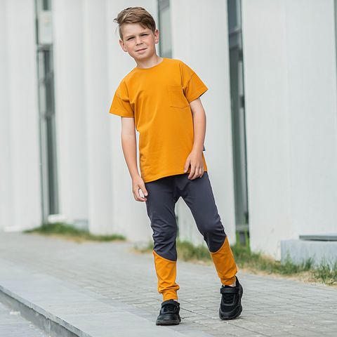 T-shirt with pocket for teens - Amber Yellow