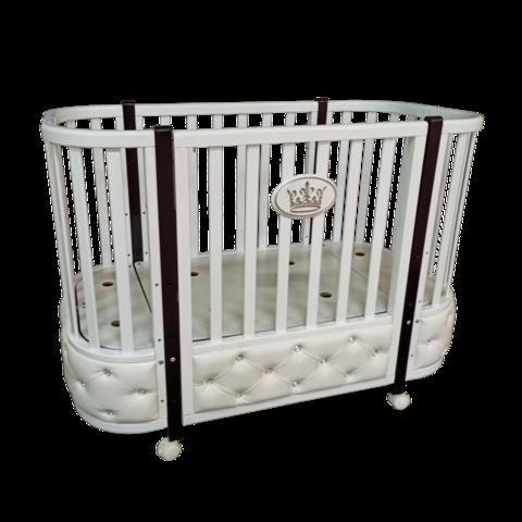 Кровать детская Антел Есения-1 с кожаной вставкой БЕЛАЯ