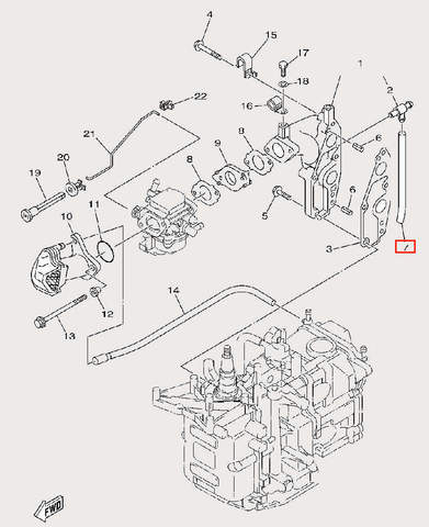 Трубка Φ5×Φ9×134 для лодочного мотора F9,9 Sea-PRO (6-7)
