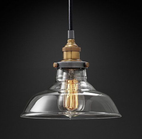Подвесной светильник копия 20th C. Factory Filament Clear Glass Barn Pendant by Restoration Hardware