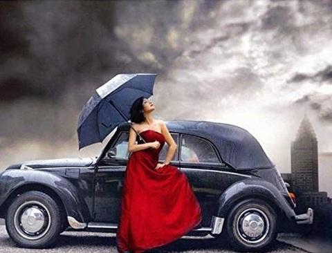 Алмазная Мозаика 5D 40x50 Девушка в красном у автомобиля