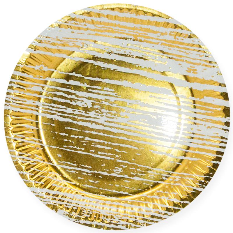 Тарелки 23 см., Структура дерева, Золото/Белый, 6 шт.