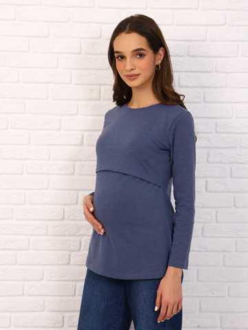 Мамаландия. Лонгслив для беременных и кормящих с горизонтальным секретом, джинс