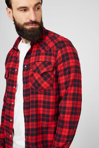 Мужская красная рубашка в клетку S-EAST-LONG-CHK SHIRT Diesel