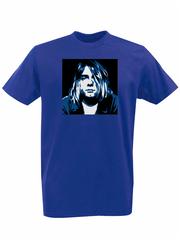 Футболка с принтом Курт Кобейн, Нирвана (Nirvana, Kurt Cobain) синяя 002