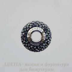 80101 Бусина Сваровски BeCharmed Pave Crystal Silver Night 14х9 мм