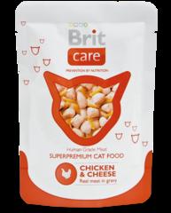 """Пауч для кошек, Brit Care Cat, """"Курица и сыр"""""""
