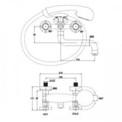 Смеситель KAISER Cross 41022 хром и 41022-1 Bronze для ванны схема