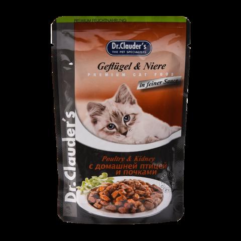 Dr. Clauder's Консервы для кошек с домашней птицей и почками в желе (пауч)