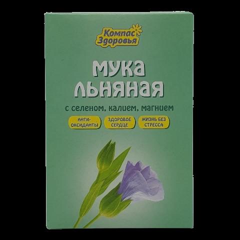 Мука Льняная с селеном, калием, магнием КОМПАС ЗДОРОВЬЯ, 300 гр