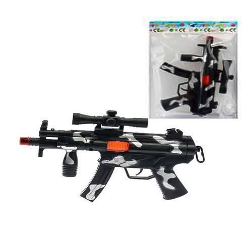 Оружие детское - Пистолет-автомат  черный Трещетка в пак.,1кор*1бл*6шт