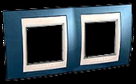 Рамка на 2 поста. Цвет Голубой лёд/белый. Schneider electric Unica Хамелеон. MGU6.004.854