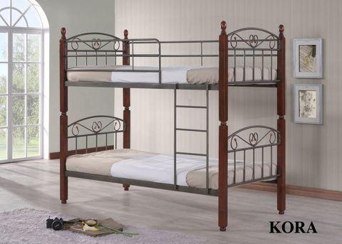 Двухъярусная кровать Кора - DD металлическая с деревянными ножками 90х190 темный орех