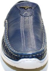 Мужские летние туфли мокасины кожаные. Яхтенная обувь. Синие туфли мокасины на белой подошве Luciano Bellini - Blue White.