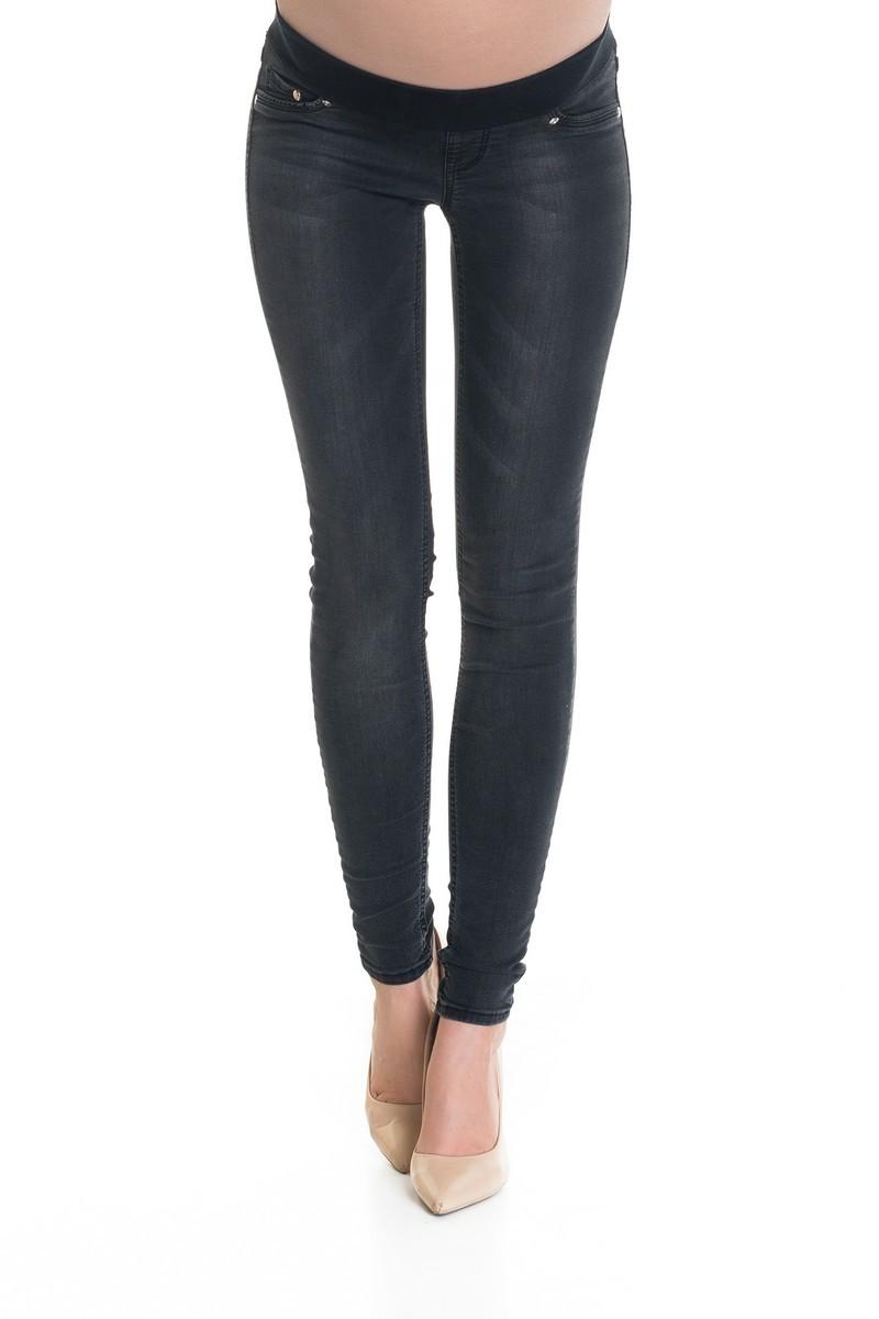 Фото джинсы для беременных (SUPER SKINNY) 9Fashion, зауженные, трикотажная вставка от магазина СкороМама, серый, размеры.
