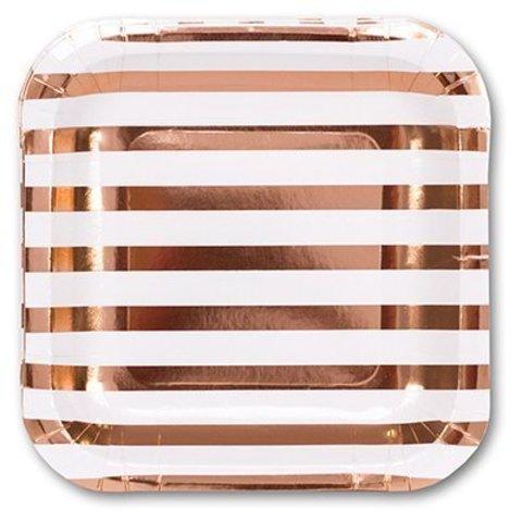 Тарелка фольг розовое золото 17см 6шт/G
