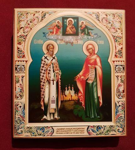 Икона святые Киприан и Иустина на дереве на левкасе мастерская Иконный Дом