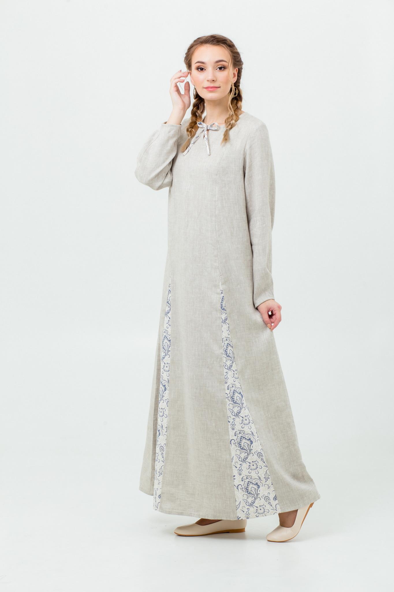 Льняное платье в пол Сливочный щербет