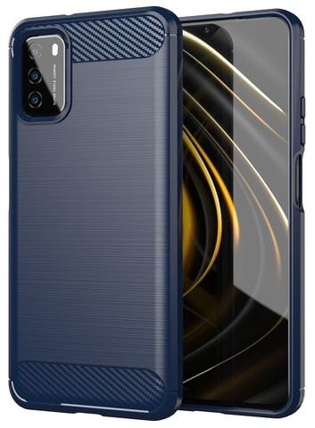 Синий защитный чехол на телефон Xiaomi Poco M3, серия Carbon от Caseport