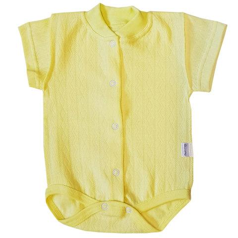 Папитто. Боди с коротким рукавом ажур, желтый, р. 50