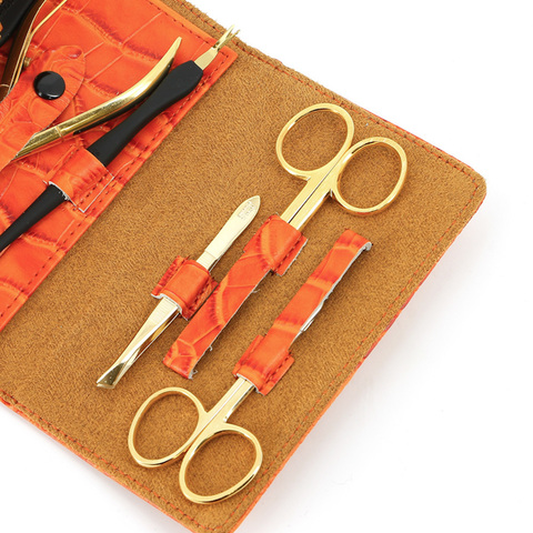 Маникюрный набор GD, 6 предметов, цвет оранжевый, кожаный футляр
