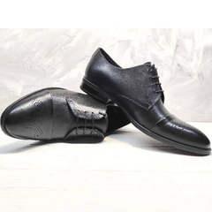 Модельные туфли мужские классические Ikoc 2249-1 Black Leather.