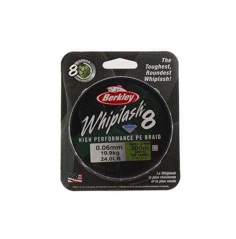 Плетеная леска Berkley Whiplash 8 Темно-зеленая 300 м. 0,06 мм. 10,9 кг. Green (1446657)