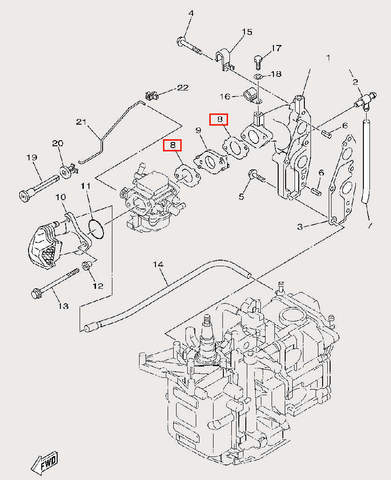 Прокладка карбюратора для лодочного мотора F9,9 Sea-PRO (6-8)