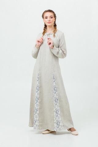 Льняное платье с карманами в русском стиле