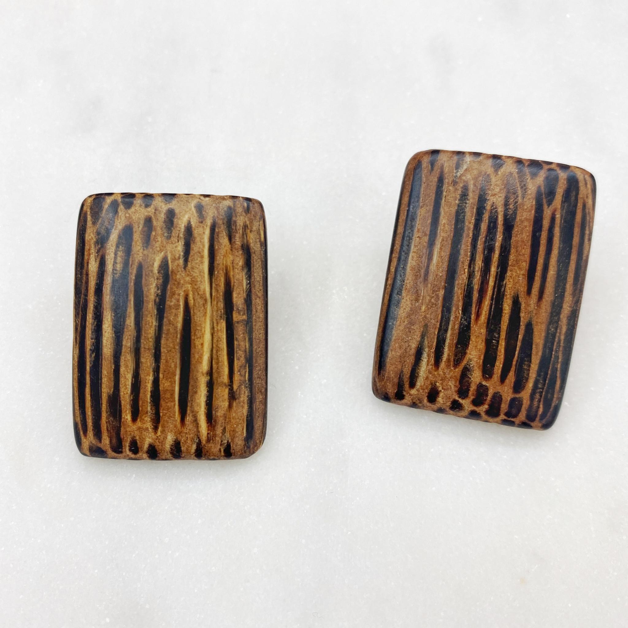 Серьги из натурального дерева (тёмно-коричневый)