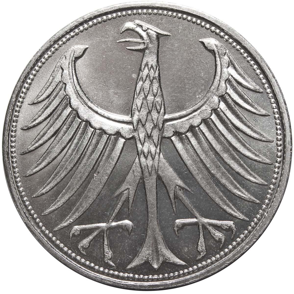 5 марок. Германия. (J). Серебро. 1966 год. AU