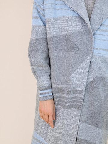 Женский удлиненный светло-серый кардиган из 100% шерсти - фото 3