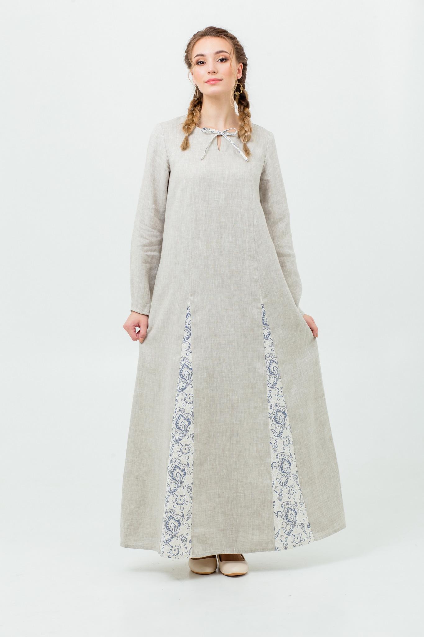 Платье с народным узором Сливочный щербет