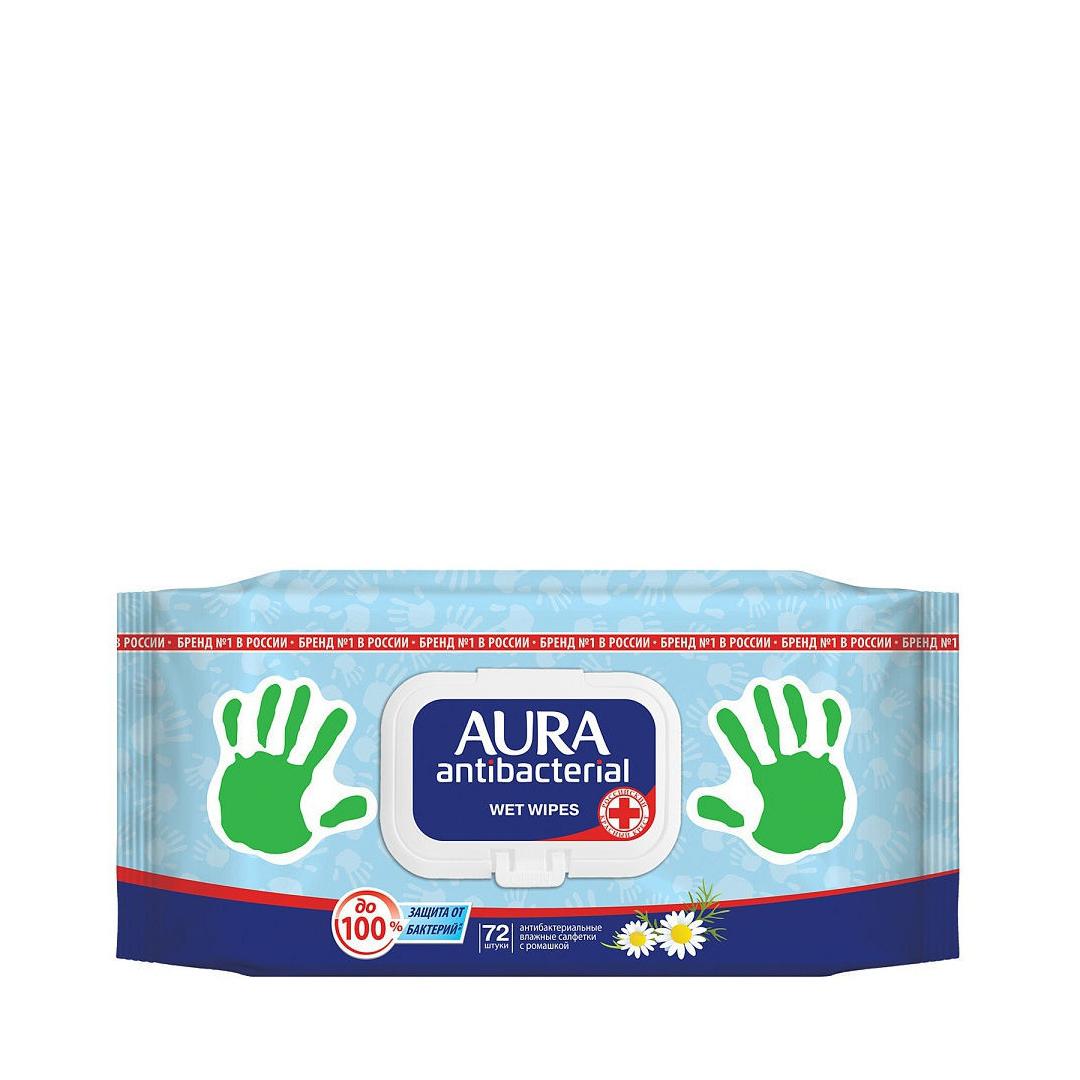 Салфетки влажные Aura Derma Protect, с крышкой 72шт, антибакт. с ромашкой