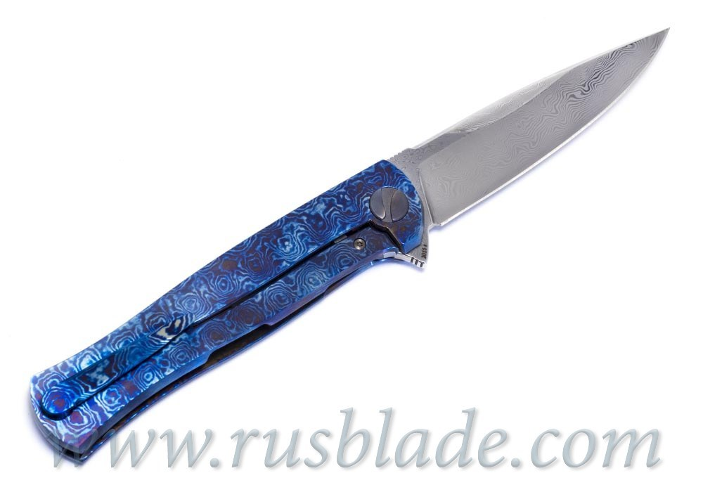 Cheburkov Pike Damascus Timascus CF one-off Knife