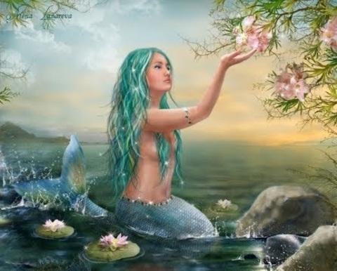Алмазная Мозаика 5D 40x50 Русалка с голубыми волосами и цветы