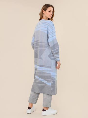 Женский удлиненный светло-серый кардиган из 100% шерсти - фото 2