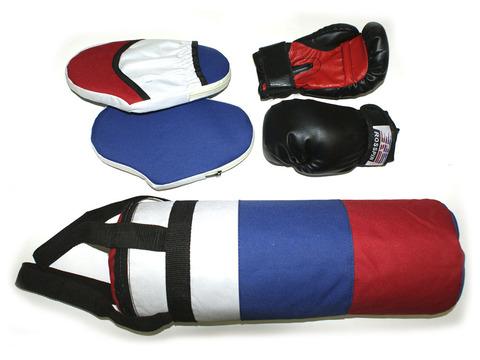 Набор боксёрский детский (груша цилиндрическая, перчатки, 2 лапы) :(5):