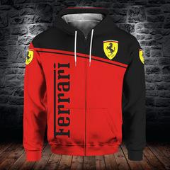 Толстовка утепленная с молнией 3D принт, Ferrari (3Д Теплые Худи с молнией Феррари)
