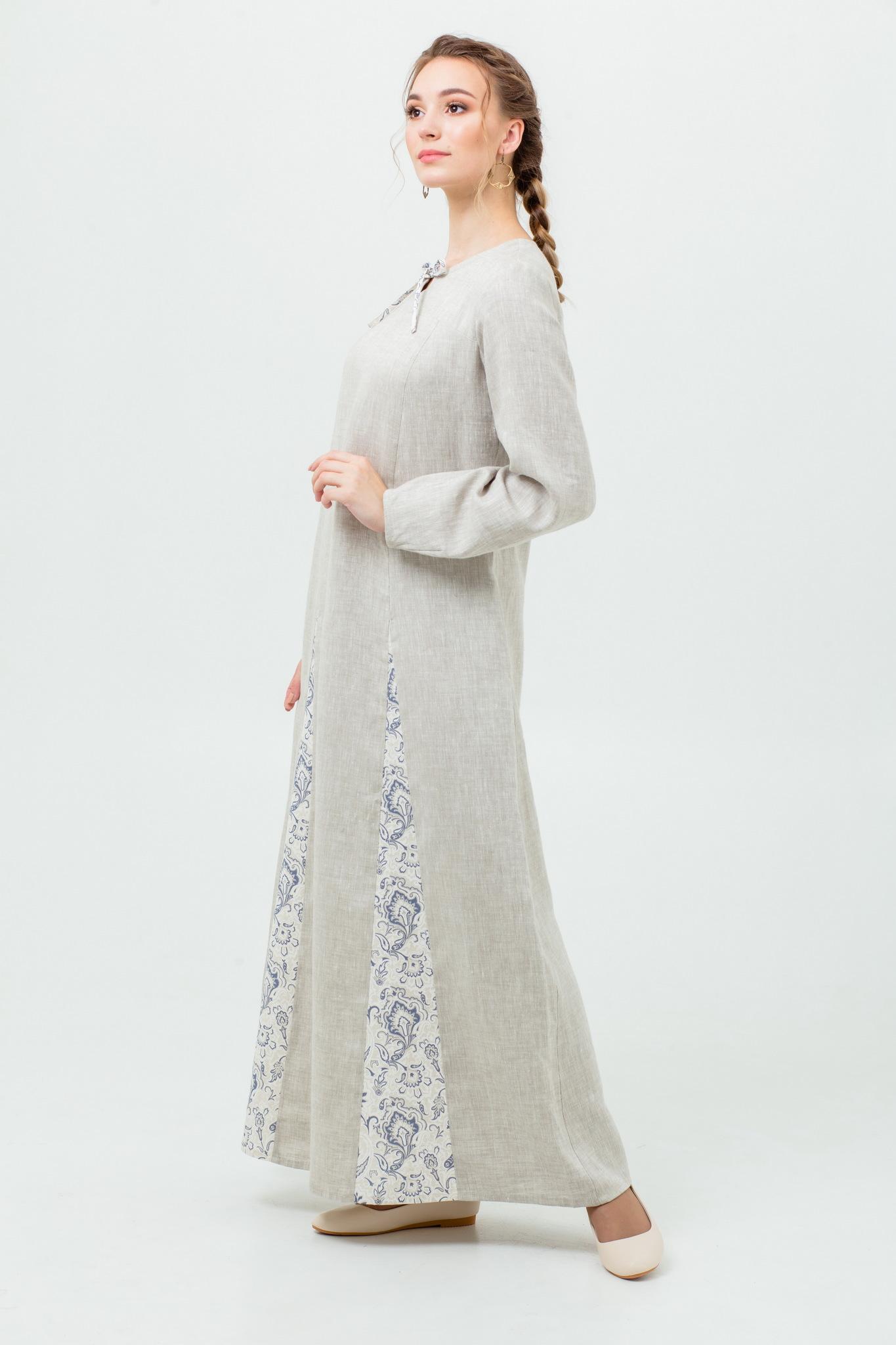 Льняное славянское платье на праздник Сливочный щербет