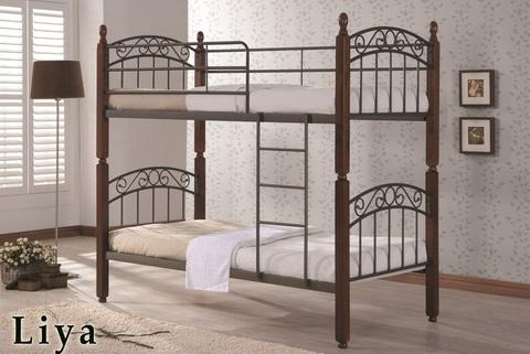 Двухъярусная кровать ЛИЯ - DD металлическая с деревянными ножками 90х200 темный орех