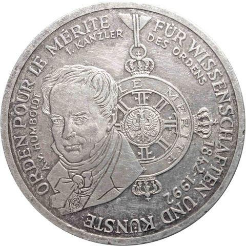 10 марок 1992 год (D) 150 лет ордену Pour-le-Merite за заслуги в науке и искусстве, Германия. AU