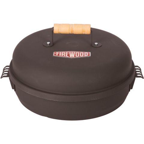Коптильня круглая большая 450х150 мм с датчиком температуры FIREWOOD крышка с дер.ручкой,термостойка