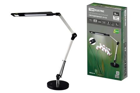 Светильник светодиодный настольный СН-50, 2 колена, диммер, 220 В, 9 Вт, 5000 К, сереб-черн, TDM