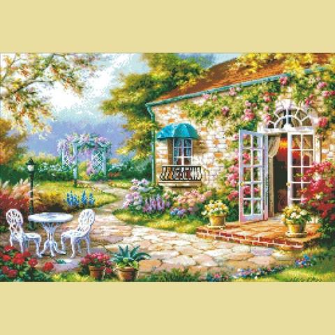 Алмазная Мозаика 40x50 Вход в загородный дом